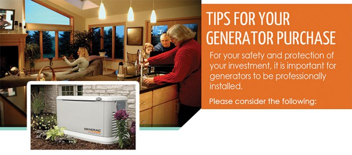 Tips for your Generator Purchase: it's important for generators to be professionally installed.