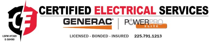 Certified Electrical Services, located close to Baton Rouge, servicing south Louisiana and parts of Mississippi. 225-791-1213